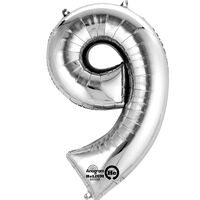 34 Inch Silver Number 9 Helium Balloon