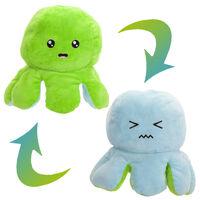 Large Reversible Squid Plush Toy: Blue & Green