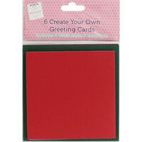 6 Create Your Own Green and Red Greeting Cards - 5x5Inches
