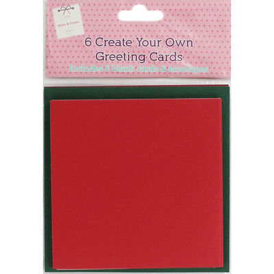 6 Create Your Own Green and Red Greeting Cards - 5x5Inches image number 1