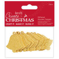 Glittered Gold Bell Wooden Toppers: Pack of 12