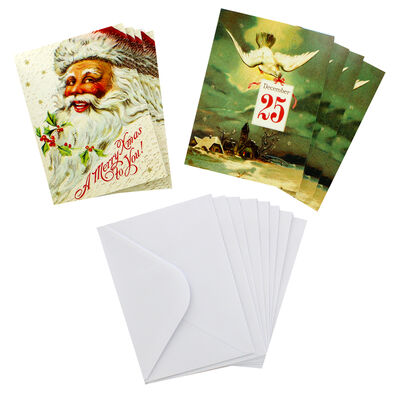 8 Vintage Christmas Cards in Tin - Father Christmas image number 2
