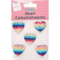 Rainbow Heart Embellishments: Pack of 5