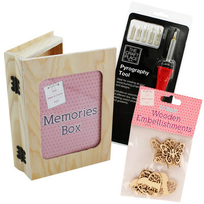 Easter Create Your Own Wooden Butterfly Hearts Memory Box Bundle image number 1