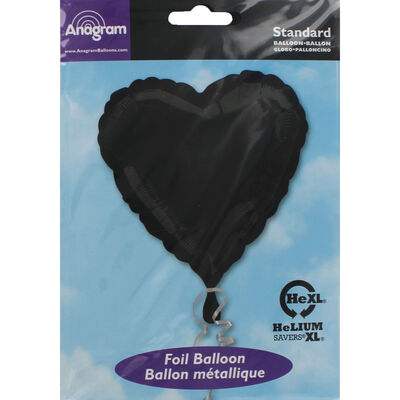 18 Inch Black Heart Helium Balloon image number 2