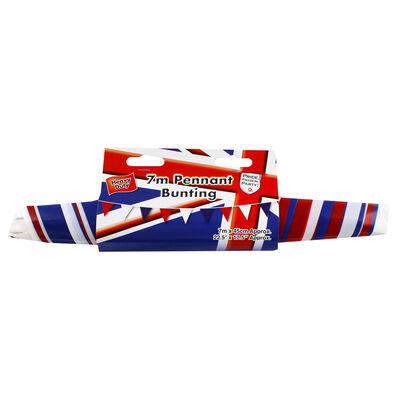 Red, White and Blue 7m Plastic Pennant Bunting image number 1
