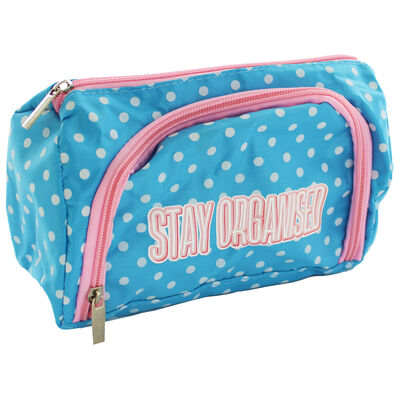 Blue Polka Dot Stay Organised Pencil Case Organiser image number 1