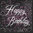 Black Pink Happy Birthday Paper Napkins - 16 Pack image number 1