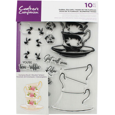 Crafters Companion Layering Stamp - Floral Tea Cups image number 1