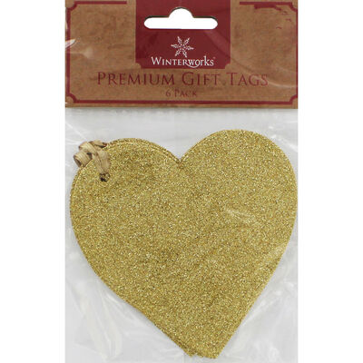 6 Premium Glitter Heart Gift Tags - Assorted image number 1