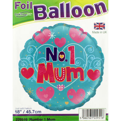 18 Inch No 1 Mum Foil Helium Balloon image number 2