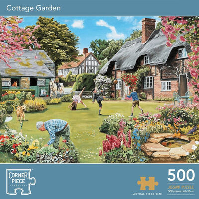 Cottage Garden & Spring Stream 500 Piece Jigsaw Puzzle with Portapuzzle Board Bundle image number 2