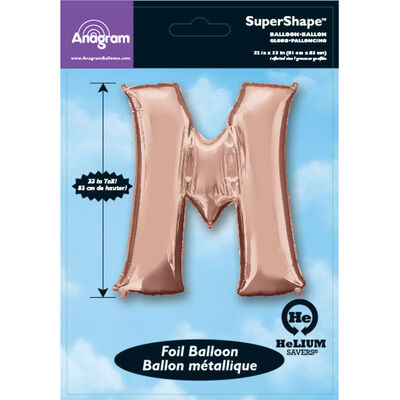 34 Inch Light Rose Gold Letter M Helium Balloon image number 2