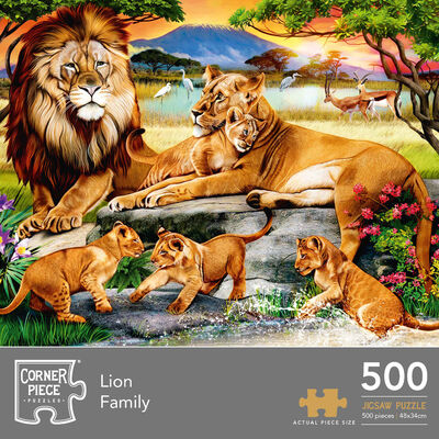 Lion Family 500 Piece Jigsaw Puzzle image number 1