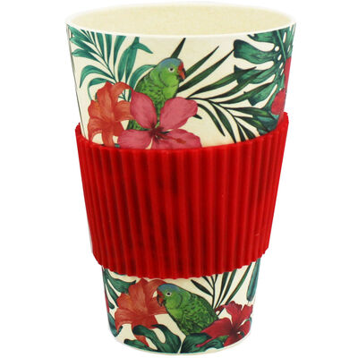 Red Floral Bamboo Eco Travel Mug image number 2
