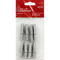 Silver Glitter Pegs - 8 Pack
