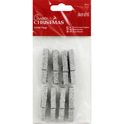 Silver Glitter Pegs - 8 Pack image number 1
