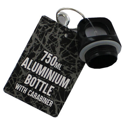 Black White Get Fit Dont Quit Aluminium Bottle with Carabiner image number 3