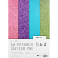 Dovecraft Glitter Card A4 Pad - Pastels - 24 Sheets