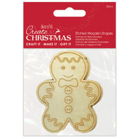 Gingerbread Etched Wooden Shapes: Pack of 2