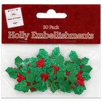 Holly Embellishments: Pack of 30