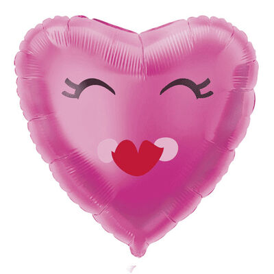 18 Inch Smiling Pink Heart Foil Helium Balloon image number 1