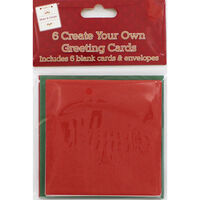 6 Create Your Own Green and Red Greeting Cards - 4x4 Inches