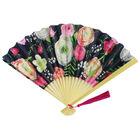 Black Floral Paper Fan image number 1