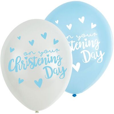 Blue Christening Day Latex Balloons - 6 Pack image number 1