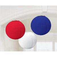 Red, White and Blue Hanging Lanterns - Set of 3