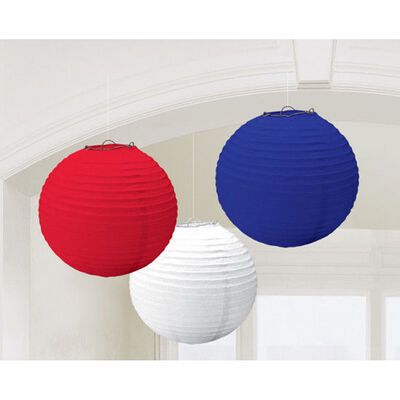 Red, White and Blue Hanging Lanterns - Set of 3 image number 2