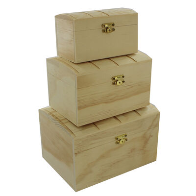 3 Nested Wooden Chest Boxes image number 1