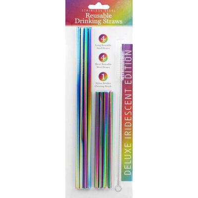 Iridescent Stainless Steel Reusable Drinking Straws - 8 Pack image number 1
