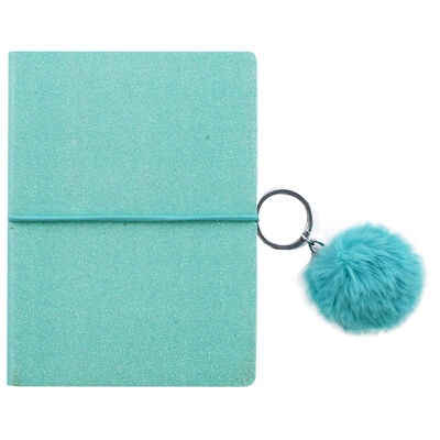 A6 Blue Glitter Notebook with Keyring image number 1