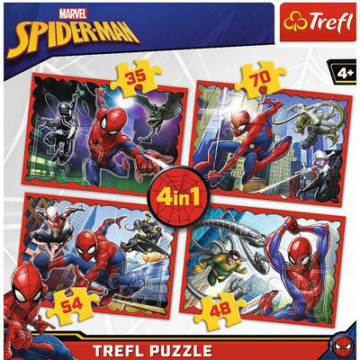 Spiderman 4 in 1 Jigsaw Puzzle Set image number 2