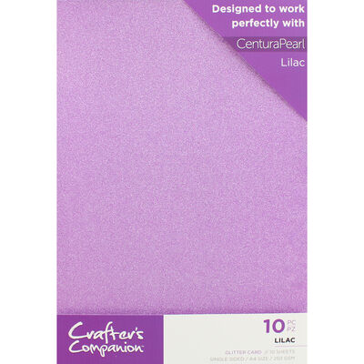Crafters Companion Glitter Card 10 Sheet Pack - Lilac image number 1