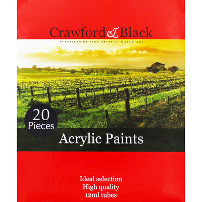 High Quality 12ml Acrylic Paints - Set of 20 image number 1