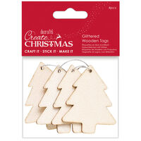 Glittered Tree Wooden Tags: Pack of 4