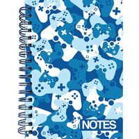 A6 Wiro Blue Camo Lined Notebook