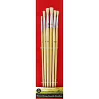 Round Long Handle Paint Brush Set - 6 Pack