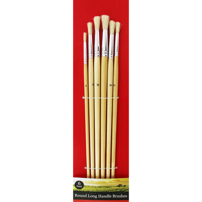Round Long Handle Paint Brush Set - 6 Pack image number 1