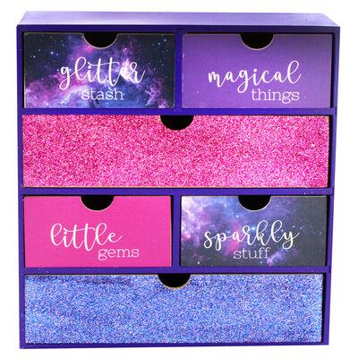 Purple Glitter Wooden 6 Drawer Storage Set image number 2