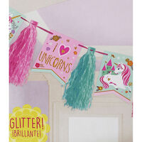 Unicorn Glitter Tassel Garland - 10ft
