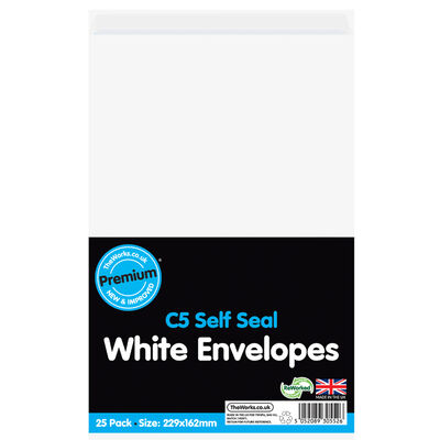 C5 White Self Seal Envelopes: Pack of 25 image number 1