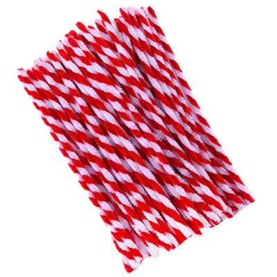 Red and White Candy Cane Pipe Cleaners - 60 Pack image number 1