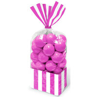 10 Pink Striped Cellophane Favour Bags