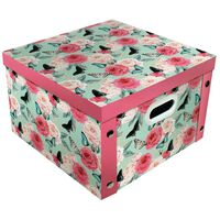 Pink Floral Butterfly Collapsible Storage Box