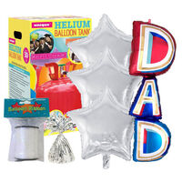 Father's Day Dad Supershape Helium Balloon & Unique Helium Canister Bundle