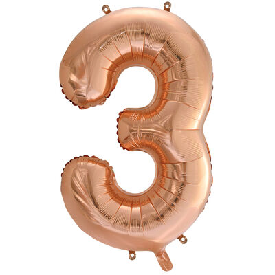 34 Inch Rose Gold Number 3 Helium Balloon image number 1