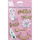 Wooden Quotes and Feather Embellishments - 8 Pack image number 1